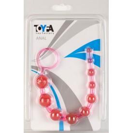 Розовая анальная цепочка из 10 шариков - 25 см.