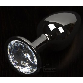Графитовая анальная пробка с прозрачным кристаллом - 8,5 см.